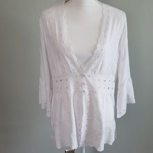 Soft Surroundings White Embroidered Blouse NWT